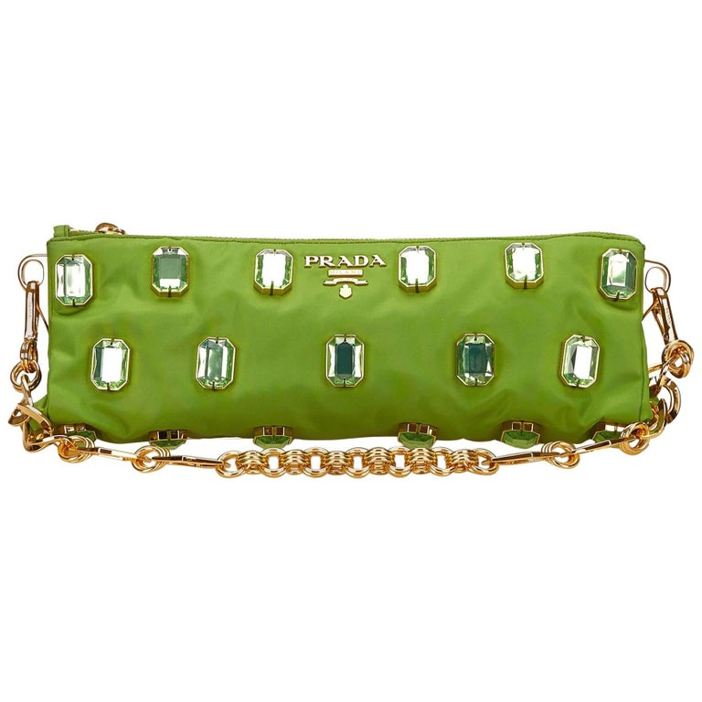 Prada Green Studded Nylon Handbag