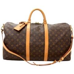 Louis Vuitton Keepall 50 Bandouliere Monogram Canvas Duffel Travel Bag + Strap