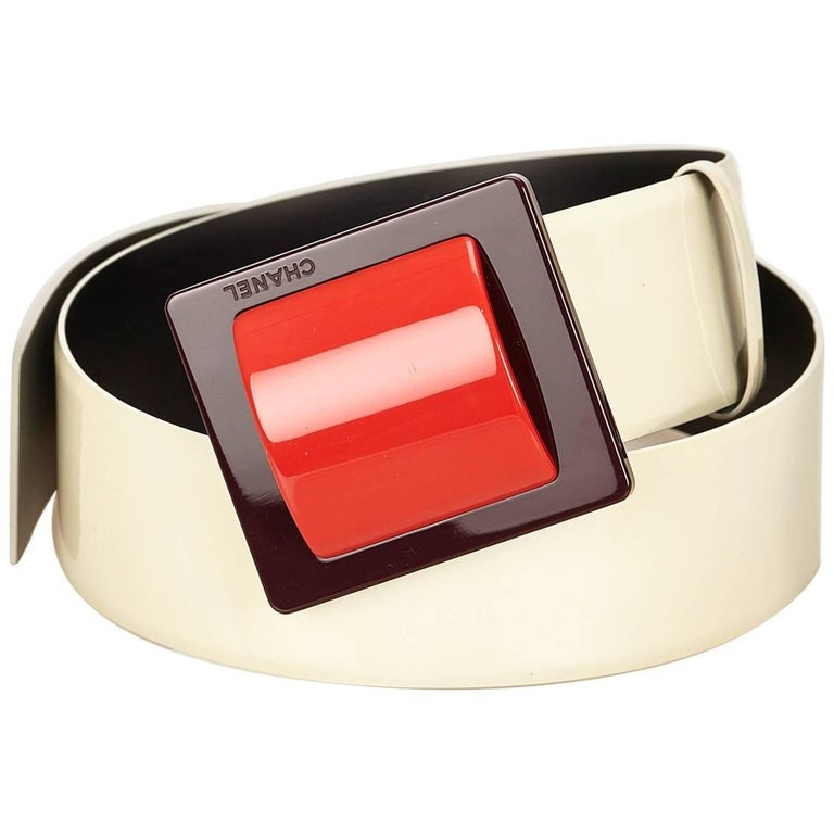 Chanel White Patent Leather with Red Buckle Belt