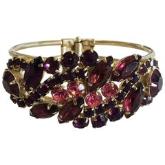 Mid Century Juliana Bracelet set with pink and purple rhinestones