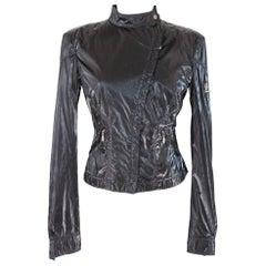 Belstaff black label biker motorcycle jacket shiny fabric women's size 40 it