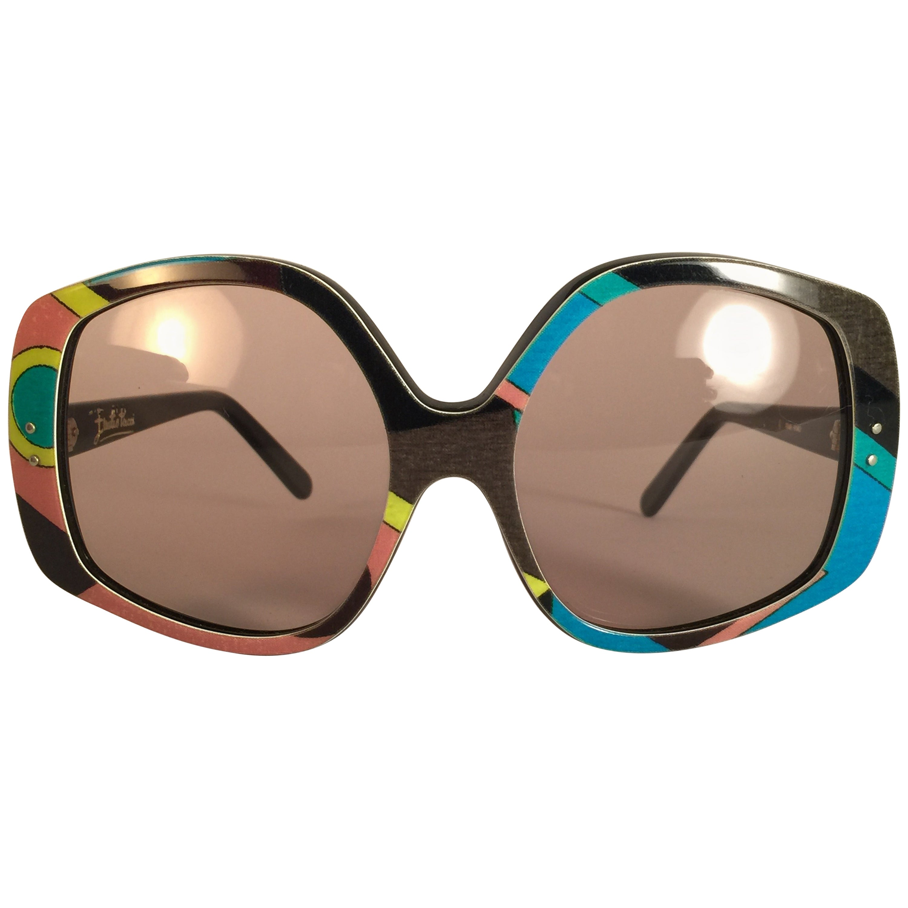 New Vintage Emilio Pucci Multicolour Oversized Collector Item Sunglasses France