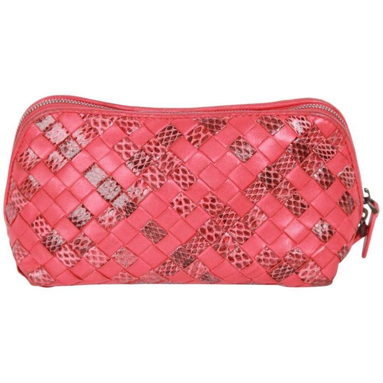 551297ea6510 BOTTEGA VENETA Red WOVEN INTRECCIATO Leather   Snakeskin ZIP POUCH For Sale