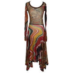 Jean Paul Gaultier vintage multicolor floral tunic dress size S made italy