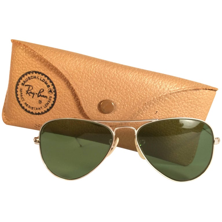 New Vintage Ray Ban Aviator 12K Gold Grey Lens Kids Edition B&L Sunglasses