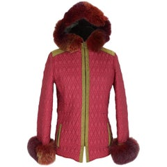 Alberta Ferretti vintage quilted red green fur and suede jacket size 42
