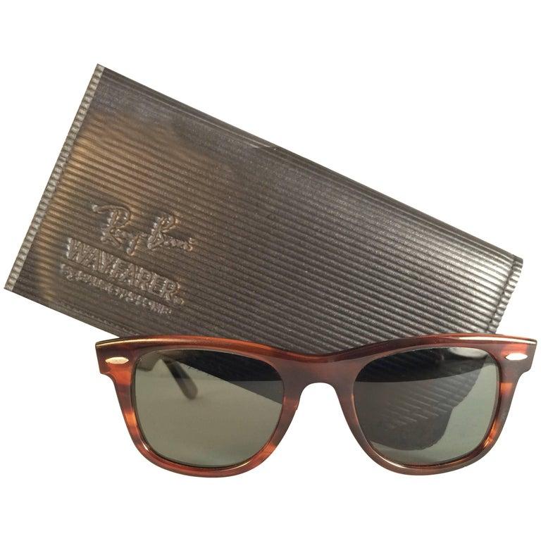 New Ray Ban The Wayfarer Tortoise G15 Grey Lenses USA 80's Sunglasses