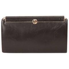 GUCCI VINTAGE Brown Leather CLUTCH Handbag