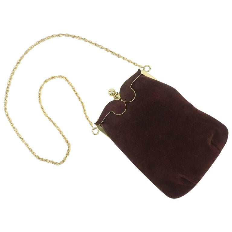1960's Brown Suede Leather Handbag With Gold Chain Shoulder Handle
