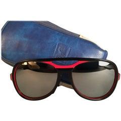 New Vintage Ray Ban B&L Powderhorn Red Black Full Mirror Lenses Sunglasses US