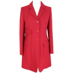 Moschino 1990s vintage red wool blend long coat slim fit
