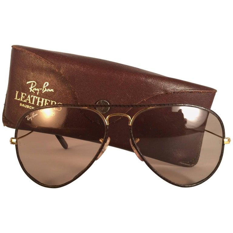 11c9dc657b New Vintage Ray Ban Leathers Aviator Tobacco Leather 58  B L Sunglasses at  1stdibs
