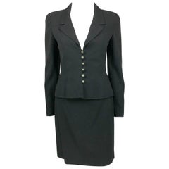 1997 Chanel Black Wool Skirt Suit