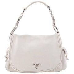 Prada Side Pocket Flap Shoulder Bag Vitello Daino Large