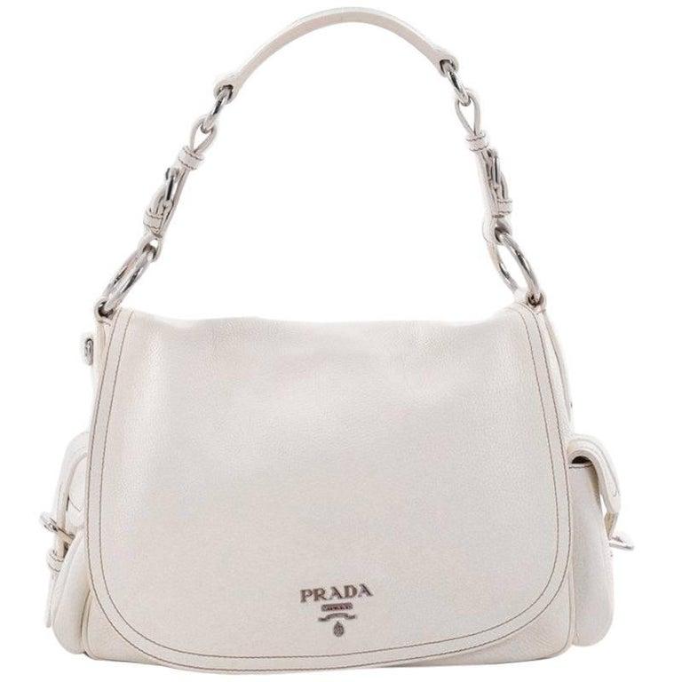8c70c3b1c2df Prada Side Pocket Flap Shoulder Bag Vitello Daino Large at 1stdibs