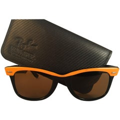 New Ray Ban The Wayfarer Two Tone Orange G15 Grey Lenses USA 80's Sunglasses