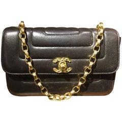Chanel Black Lambskin Leather Diana Shoulder Bag