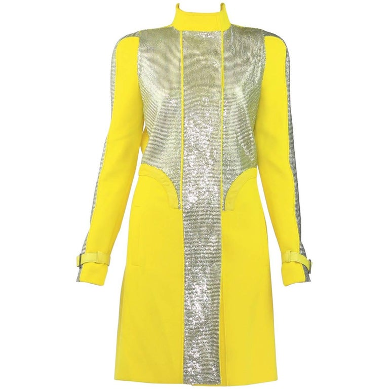 New VERSACE Chain Mesh Placket Coat in Yellow 1