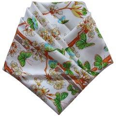 HERMES Silk Scarf Vol Amoureux des Azures Toutsy Butterflies White Blue Green 90
