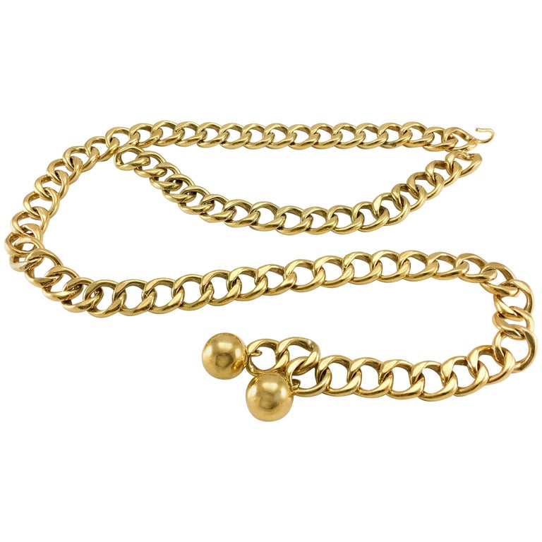 1980's Chanel Chunky Gilt Chain Belt For Sale