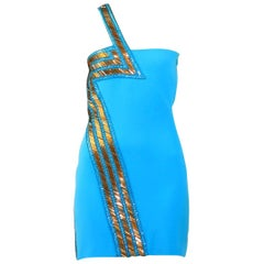 New Versace Blue Silk Embellished one shoulder dress