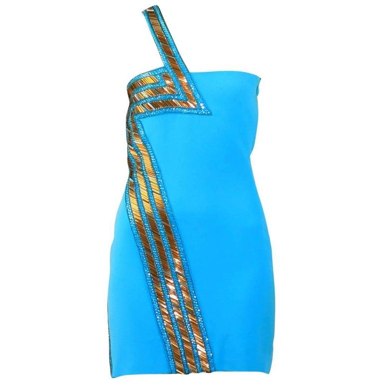 New Versace Blue Silk Embellished one shoulder dress For Sale