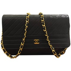 Chanel Classic Black Lambskin Quilted Stripes Shoulder Bag