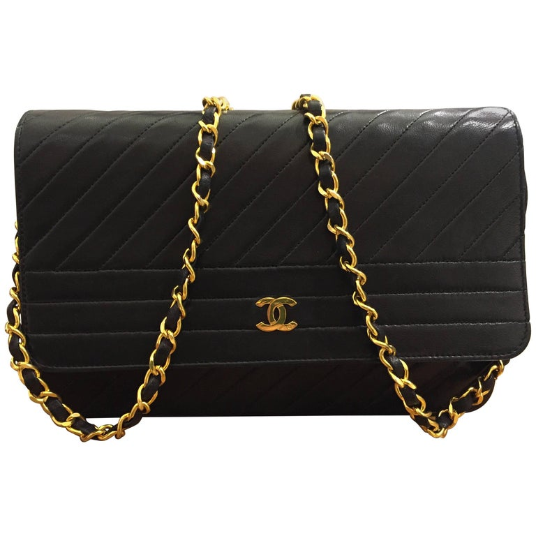 4ded74a660e15c Chanel Classic Black Lambskin Quilted Stripes Shoulder Bag For Sale ...