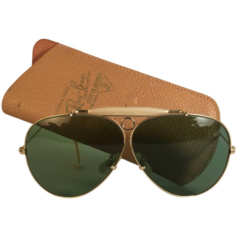 New Ray Ban Shooter 1950's Rare Classic 12K Gold Filigree USA Sunglasses For Sale
