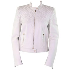 VERSACE VANITAS BAROCCO EMBROIDERED WHITE LEATHER BIKER JACKET New