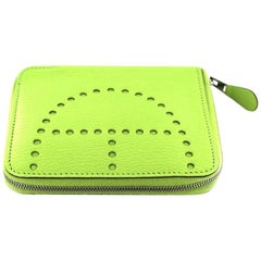 HERMES 'Evelyne' Zip Wallet in Green Apple Color Grained Leather