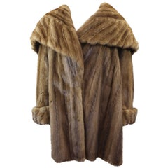 Amazing Mink  Fur Coat Golden Color with Hoodie