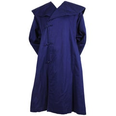 1980's COMME DES GARCONS 'China' blue cotton coat with frog closures