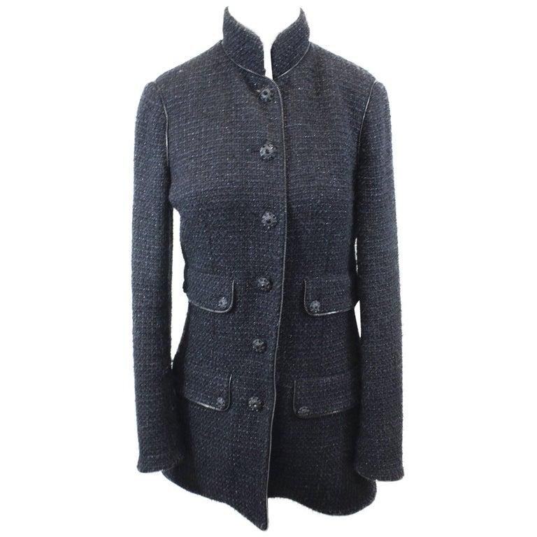 Chanel 2010 Black Tweed Long Jacket with Zips. Size 38