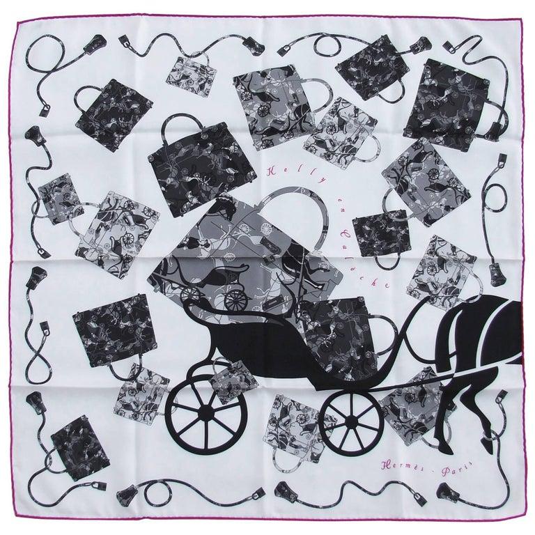 Hermes Vintage Silk Scarf Kelly En Caleche White Grey Black 70 cm