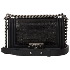 2010 Chanel Black Alligator Leather & Smooth Calfskin Leather Small Le Boy