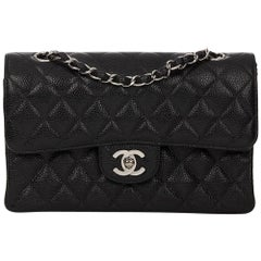 1999 Chanel Black Quilted Caviar Leather Small Classic Double Flap