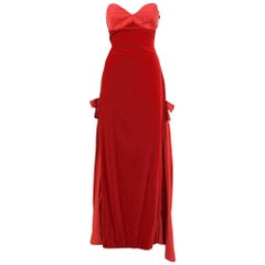1980s Gambaretto Red Velvet Dress