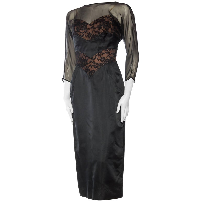 1950s Don Loper Satin and Lace Dress