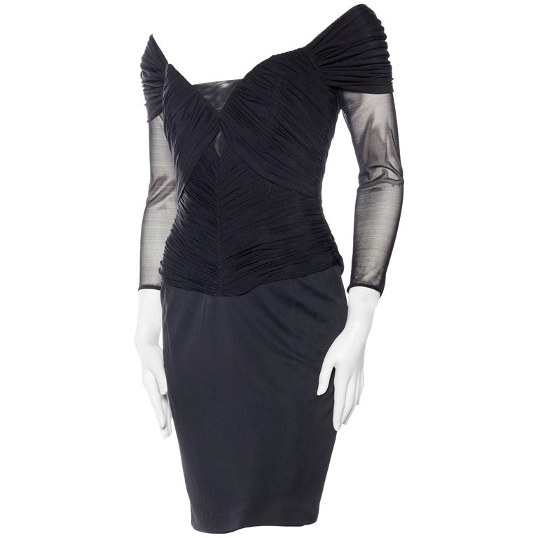 Vicky Tiel Couture Boned Dress with Sheer Net and Jersey For Sale