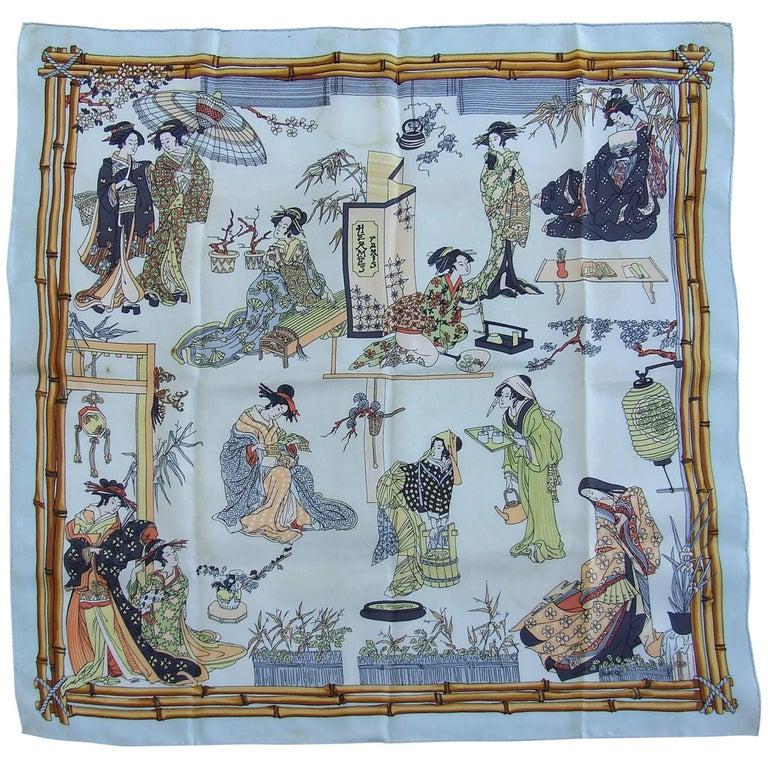 RARE Collector HERMES Vintage Silk Scarf Geisha Japan Françoise Heron 1966 89 cm For Sale