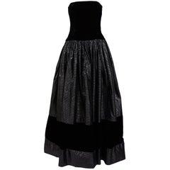 Gucci 1980s Velvet And Silk Black Bustier Evening Dress
