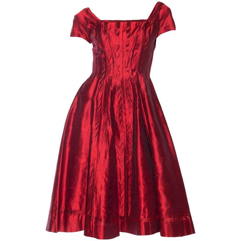1950s Red Silk Dress