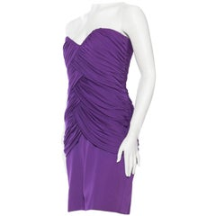 1980S FABIAN MOLINA Purple Rayon Jersey Draped Strapless Cocktail Dress