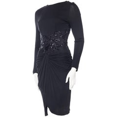 Vicky Tiel Silk Jersey and Beaded Lace Dress