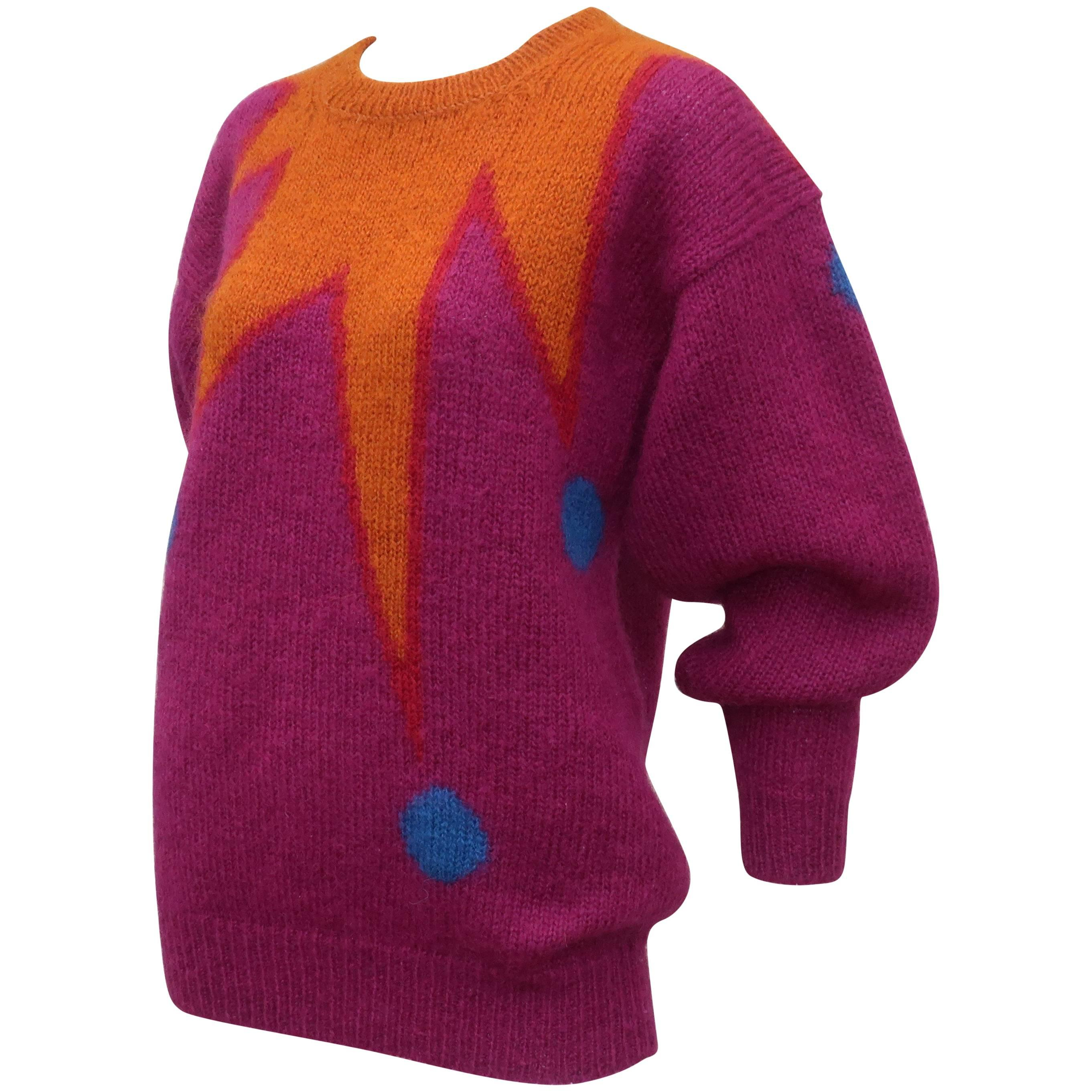 1980's Colorful Chunky Mohair Sweater With Whimsical Graphics