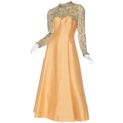 1960S Peach Silk Blend Radzimir Sleeved Gown With Silver & Gold Beading