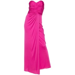 Fucia Jersey Strapless Gown