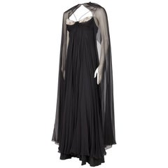 1970s Alfred Bosand Beaded Silk Chiffon Gown with Cape