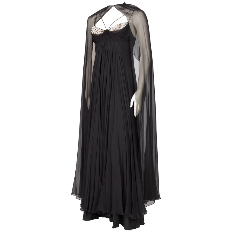 1970s Alfred Bosand Beaded Silk Chiffon Gown with Cape 1